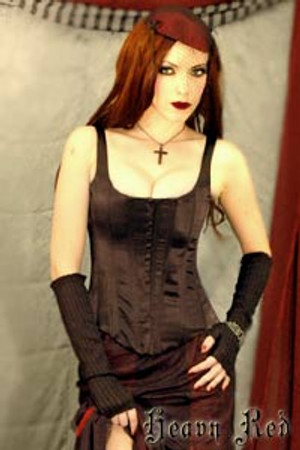 Heavy Red Eva's Wicked Black Corset