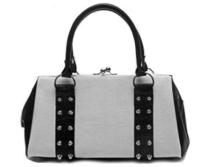 Lux De Ville Black/White Crocodile Rebel Kiss Lock Bag