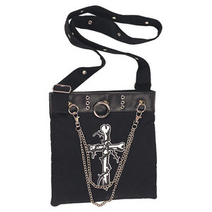 Demonia Black Canvas with Crossbones Shoulder Bag