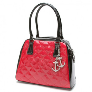 Lux De Ville Bon Voyage Tote Black and Shiny Red