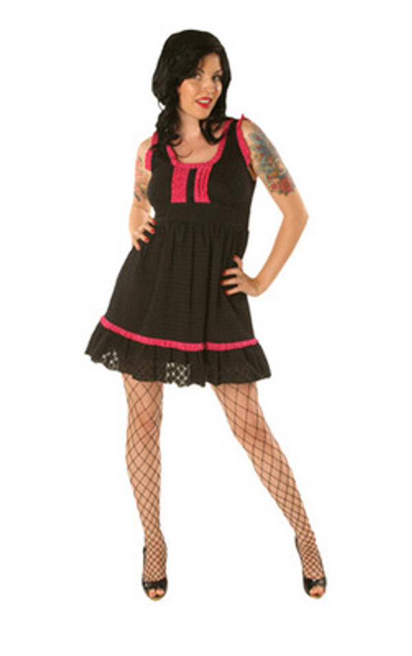 Folter Black Rose Babydoll Eyelet Lace Dress