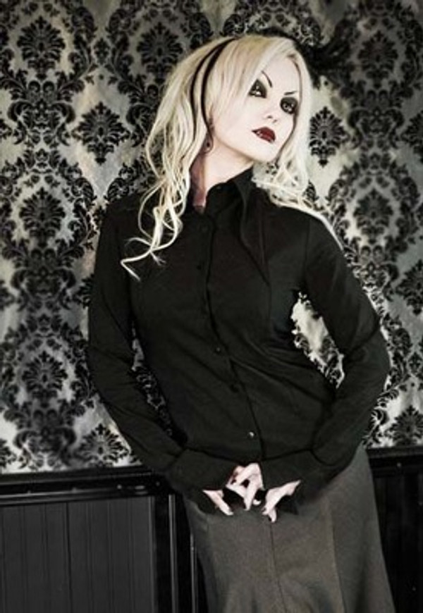 Heavy Red Gothic Lolita Black Pinnacle Dress Shirt