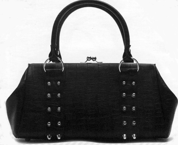 Lux De Ville Black Crocodile Rebel Kiss Lock Bag 13 inches long, 7 inches high and 5 inches wide.