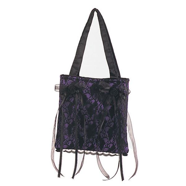 Demonia Purple Satin/Black Lace Overlay Handbag