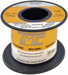 "100g. Solder Wire, 60/40, 0.8mm/0.031""  24-6040-31TMC1/4"
