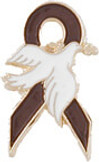 Brown Ribbon Dove Pin