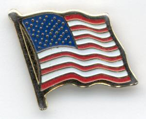 American Flag Pin - Brass Etched