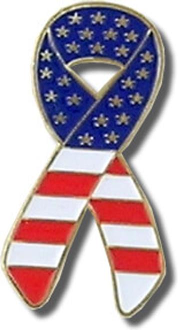 Ribbon Flag Lapel Pin