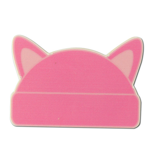 Large Pink Cat Ear Hat Shaped Lapel Pin - Magnet Back
