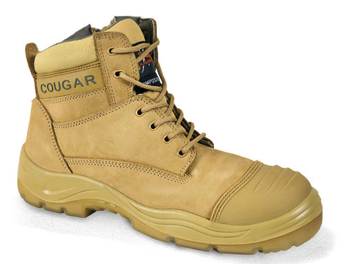 Cougar Boston Side Zipper Work Boots, Composite Toe Cap, Wheat