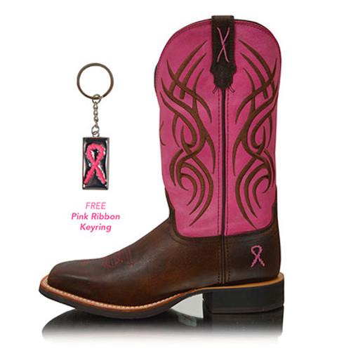 Twisted X Women's Ruff Stock Pink Ribbon Boots