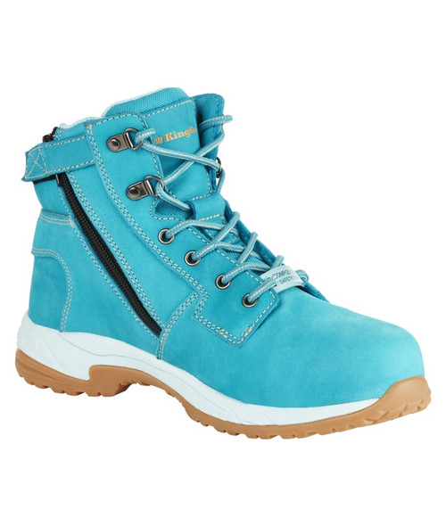 KingGee Women's Tradie Zip Safety Work Boots in Teal Full Grain Leather (K27370)