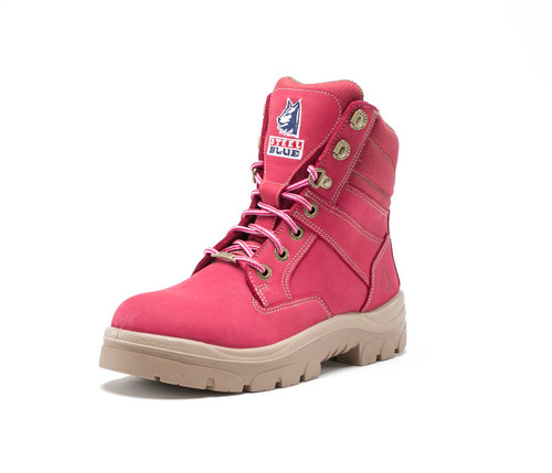 Steel Blue Southern Cross Zip Ladies Boots in Pink with Steel Cap (512761 Pink)