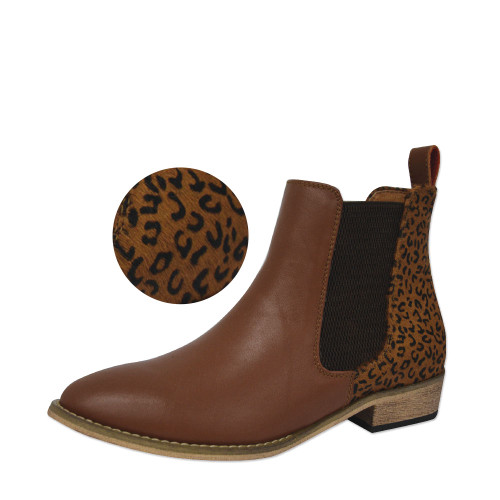 Thomas Cook Women's Chelsea Two Tone Leather Boots in Tan and Leopard (T8W28333 Leopard)