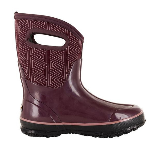 BOGS Classic Triangles Mid Handles Womens Insulated Gumboots in Plum (972114-500)