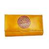 Womens Mandala wallet real leather yellow