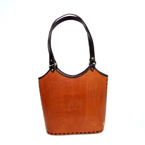 Luxury bucket tote Hand Tooled