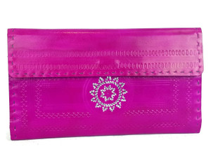 Fuchsia leather wallet hand tooled