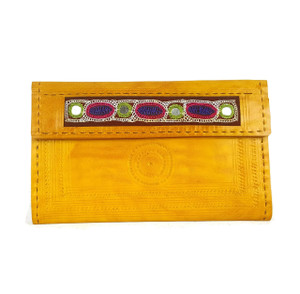 Leather embroidered wallet Lemon