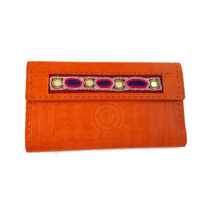 Embroidered leather wallet