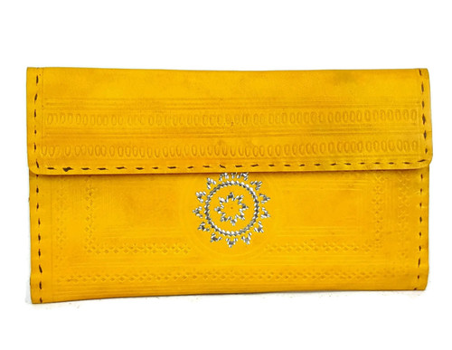 Turmeric yellow hand tooled wallet for women