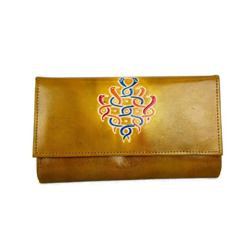 Leather wallet Entwined Snakes Yellow
