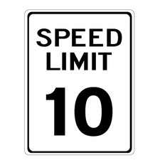 "10 MPH Speed Limit Sign - 12"" x 18"""