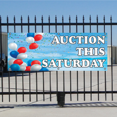 Auction This Saturday Banner - Balloons Sky