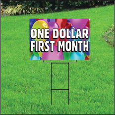 One Dollar First Month Sign for Self Storage - Balloons