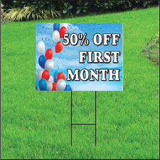 50 Percent Off First Month Sign Self Storage - Balloon Sky