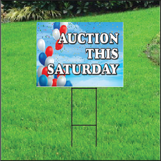 Auction This Saturday Self Storage Sign - Balloon Sky