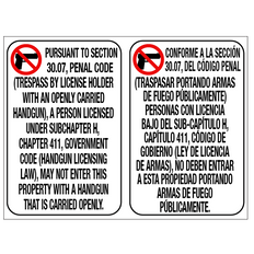 No Open Carry 30.07 Signs