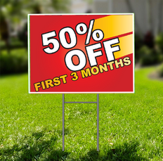 50% Off First Three Months  for Self Storage Yard Sign -  Dash In