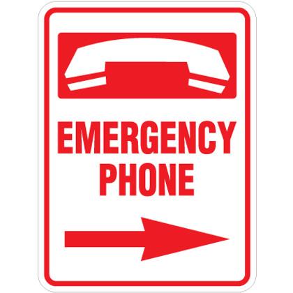 "Emergency Phone Right Arrow Sign - 18"" x 24"""