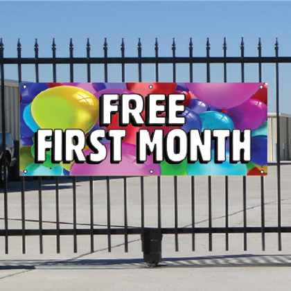 Free First Month Banner - Ballons