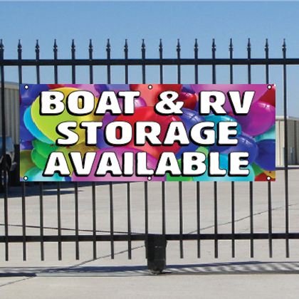 Boat & RV Storage Available Banner - Balloons