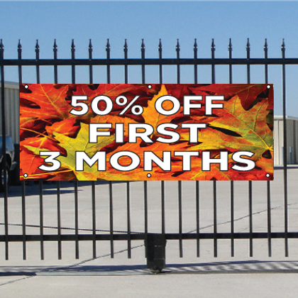 50 Percent Off First Three Months Banner - Fall