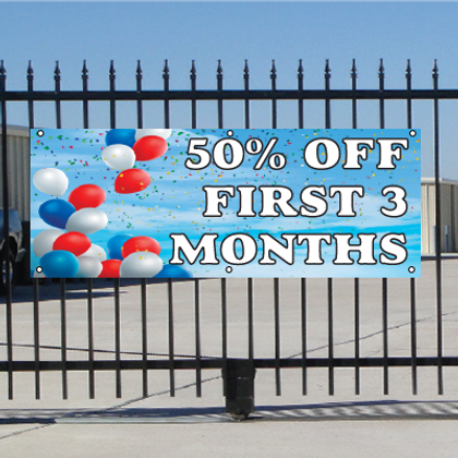 50 Percent Off First Three Months Banner - Balloons Sky