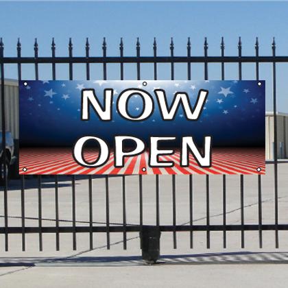 Now Open Banner - Patriotic
