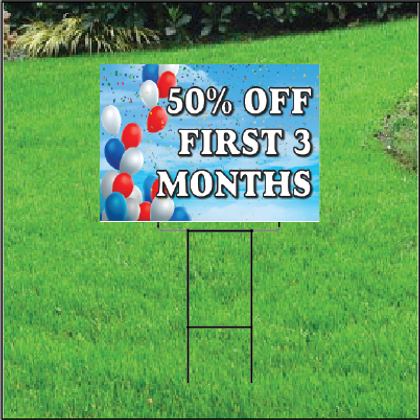 50 Percent Off First Three Months Sign Self Storage - Balloon Sky