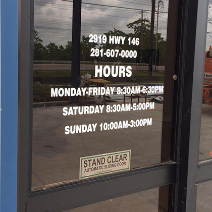 Store Hours Decal