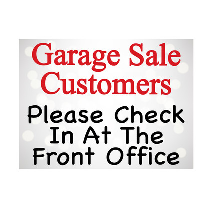 Garage Sale Check in Yard Signs