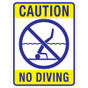 "Caution No Diving Sign - 18"" x 24"""
