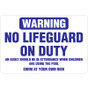 "No Lifeguard on Duty Sign - 36"" x 24"""