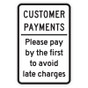 """Customer Payments Sign - 12"""" x 18"""""""