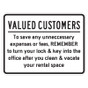 "Valued Customers Turn in Lock Sign - 18"" x 24"""