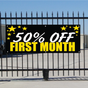 50 Percent Off First Month Banner - Celebration