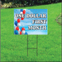 One Dollar First Month Sign for Self Storage - Balloon Sky