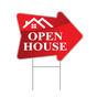 Stock Red  Arrow Shaped Open House Realtor Sign