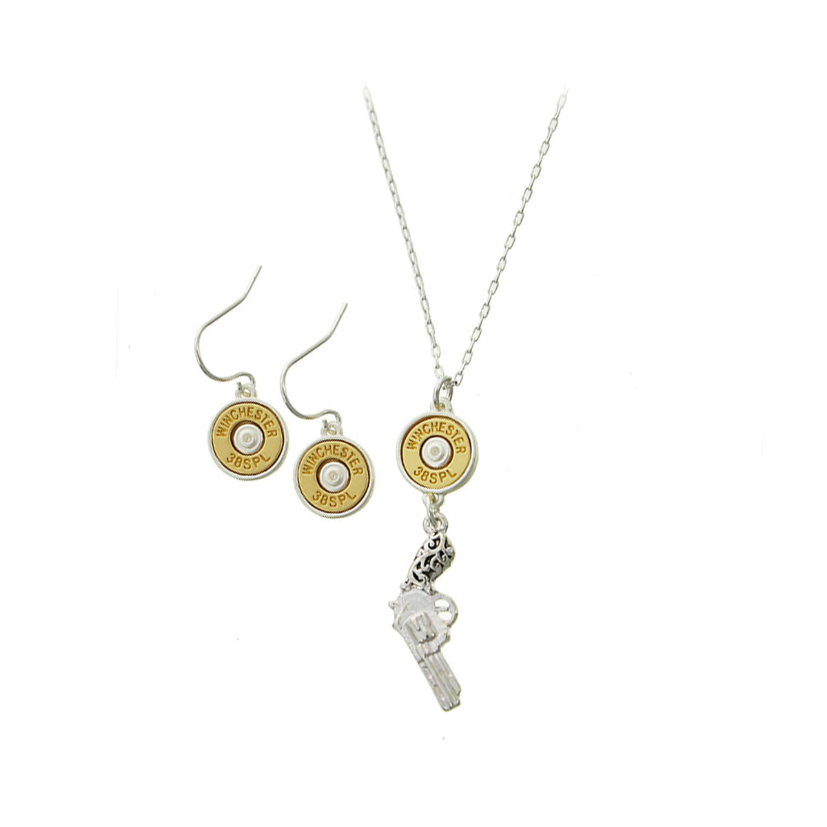Antiqued silver revolver and golden bullet necklace and drop earring set aloadofball Images